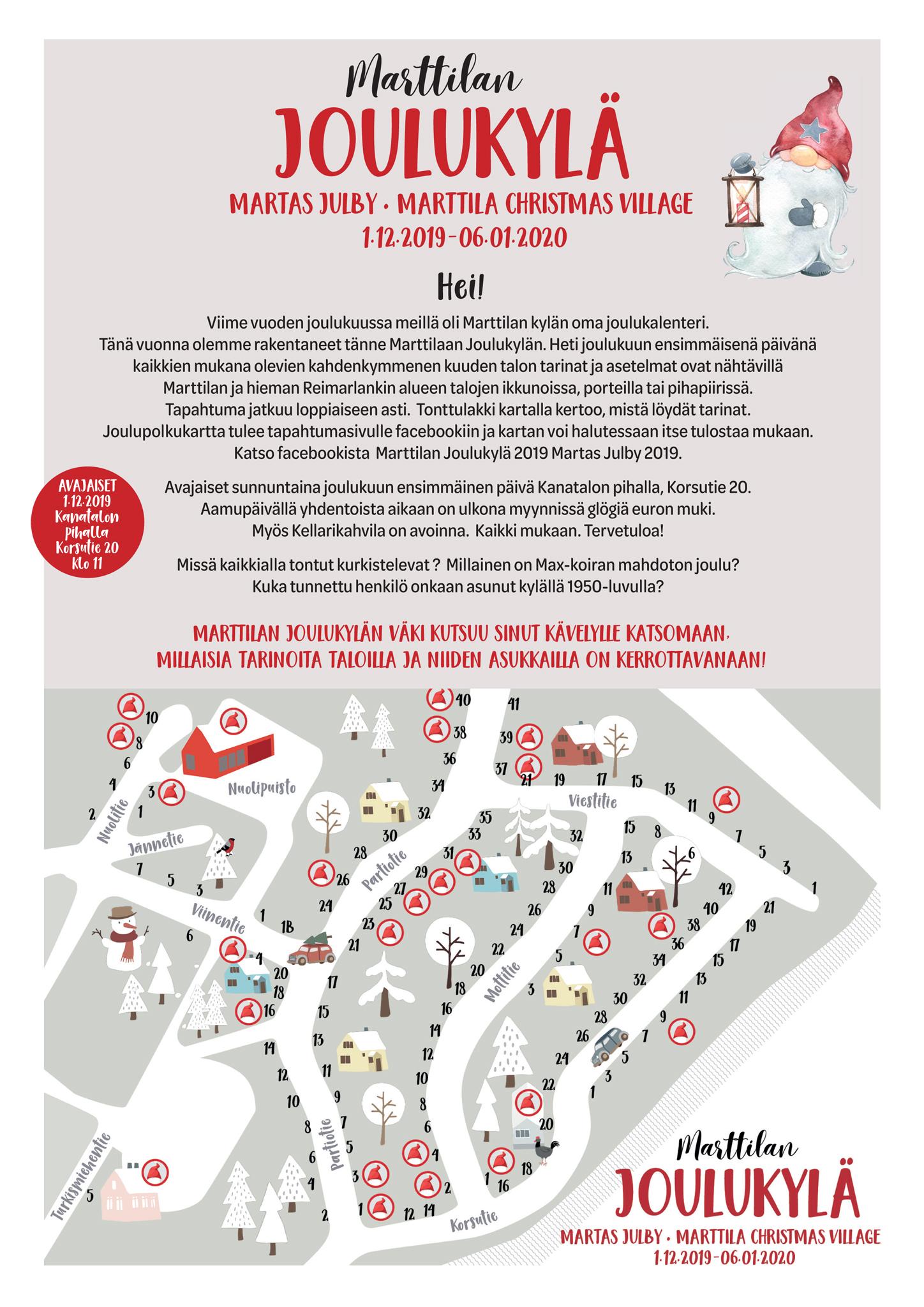 Marttilan Joulukylän kartta 2019
